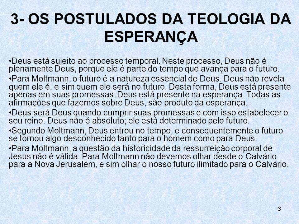 3- OS POSTULADOS DA TEOLOGIA DA ESPERANÇA