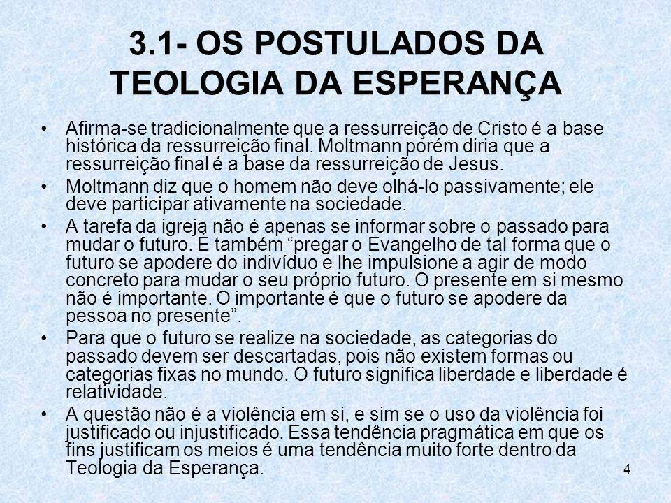 3.1- OS POSTULADOS DA TEOLOGIA DA ESPERANÇA