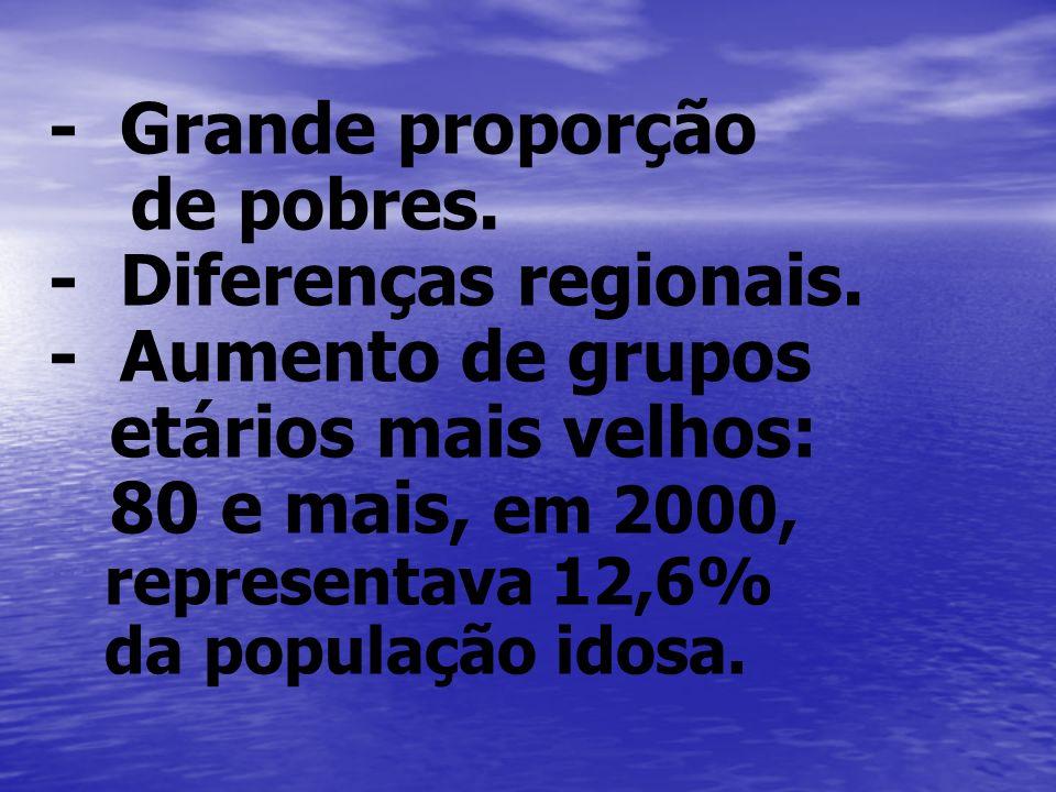 - Diferenças regionais. - Aumento de grupos etários mais velhos: