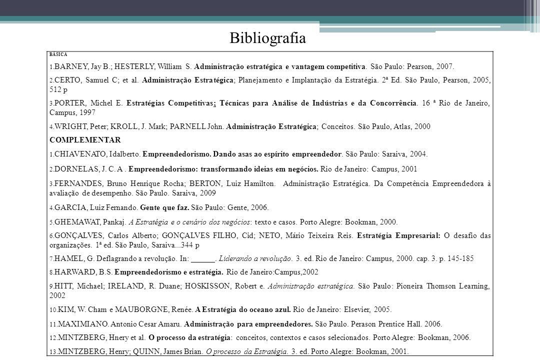 BibliografiaBÁSICA. BARNEY, Jay B.; HESTERLY, William S. Administração estratégica e vantagem competitiva. São Paulo: Pearson, 2007.