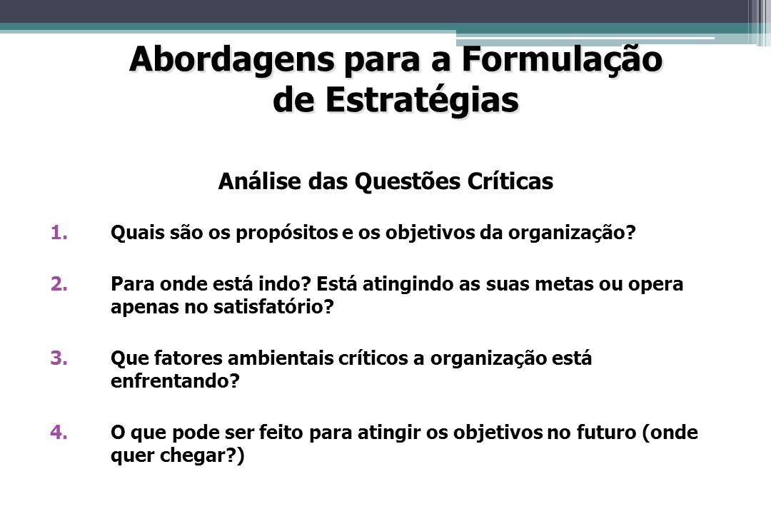 Abordagens para a Formulação Análise das Questões Críticas