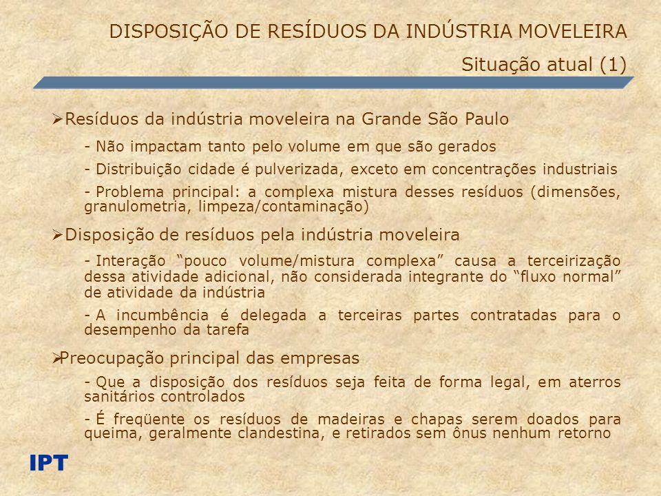 IPT DISPOSIÇÃO DE RESÍDUOS DA INDÚSTRIA MOVELEIRA Situação atual (1)