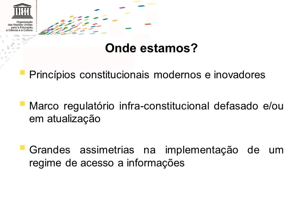 Onde estamos Princípios constitucionais modernos e inovadores