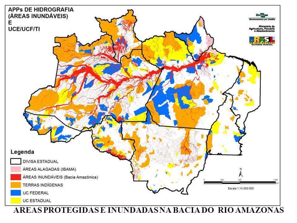 AREAS PROTEGIDAS E INUNDADAS NA BACIA DO RIO AMAZONAS