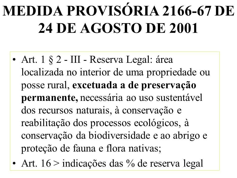 MEDIDA PROVISÓRIA 2166-67 DE 24 DE AGOSTO DE 2001