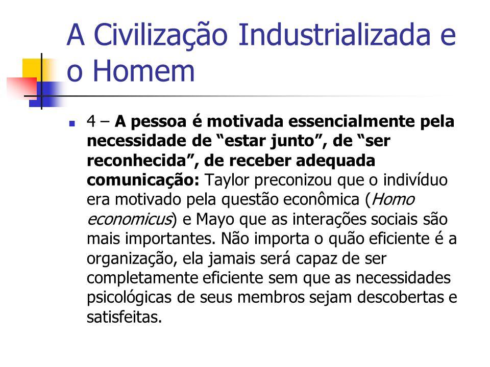 A Civilização Industrializada e o Homem