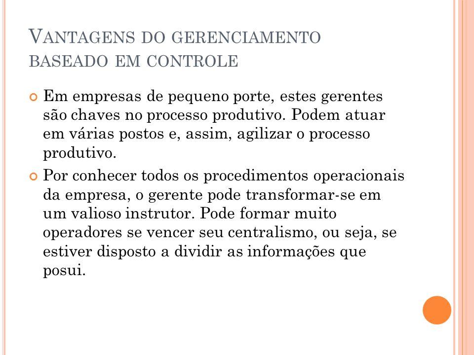 Vantagens do gerenciamento baseado em controle