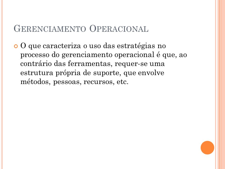 Gerenciamento Operacional