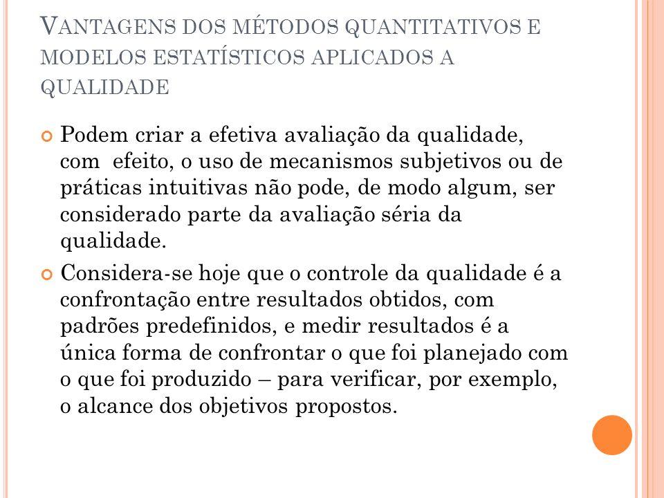 Vantagens dos métodos quantitativos e modelos estatísticos aplicados a qualidade