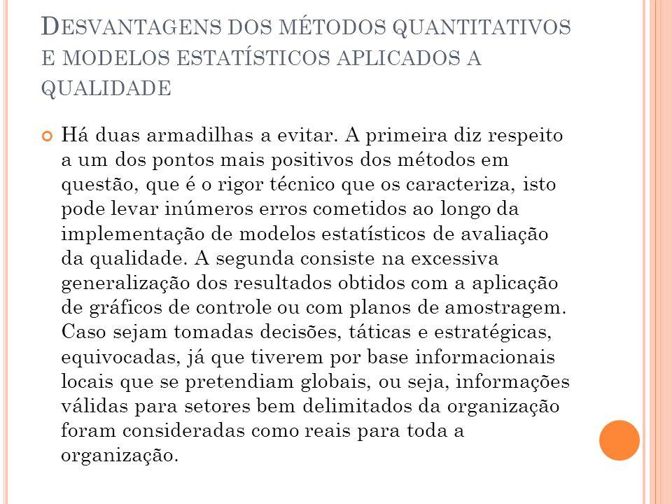 Desvantagens dos métodos quantitativos e modelos estatísticos aplicados a qualidade