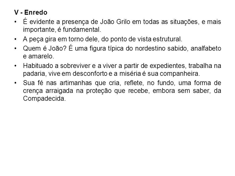 V - Enredo • É evidente a presença de João Grilo em todas as situações, e mais importante, é fundamental.