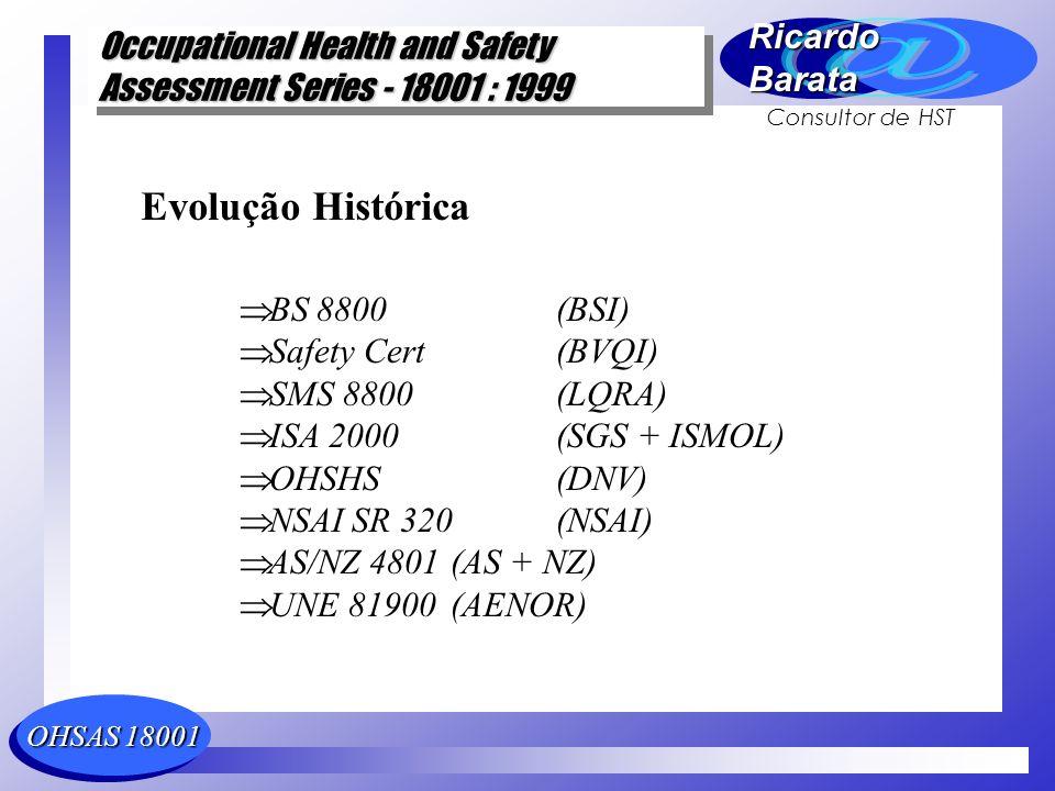Evolução Histórica BS 8800 (BSI) Safety Cert (BVQI) SMS 8800 (LQRA)