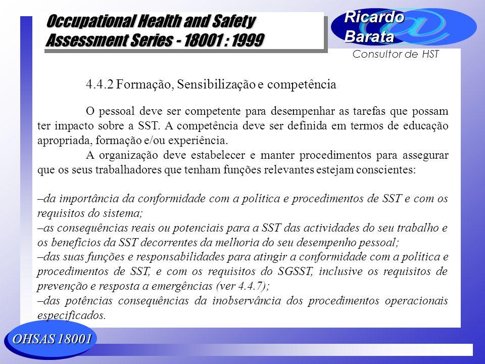 4.4.2 Formação, Sensibilização e competência