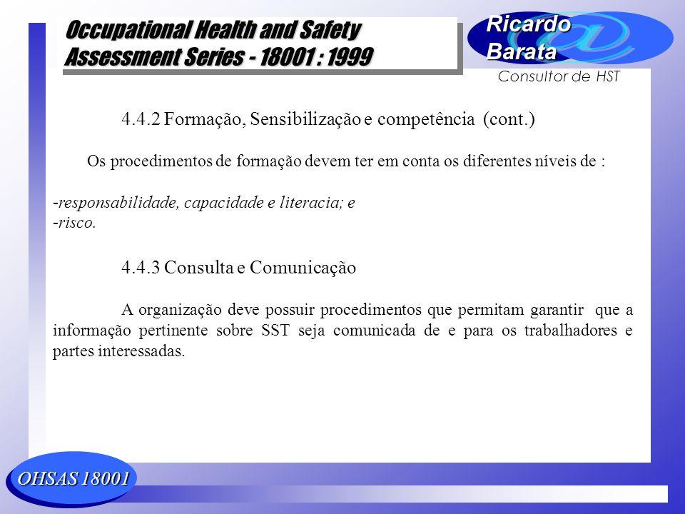 4.4.2 Formação, Sensibilização e competência (cont.)