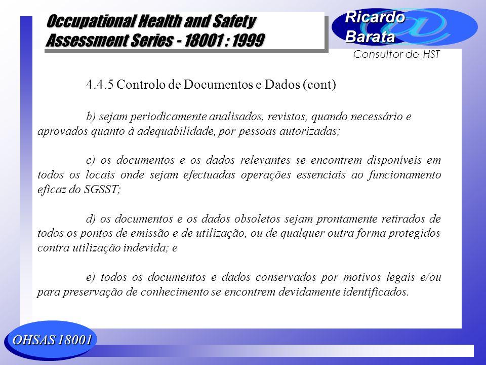4.4.5 Controlo de Documentos e Dados (cont)