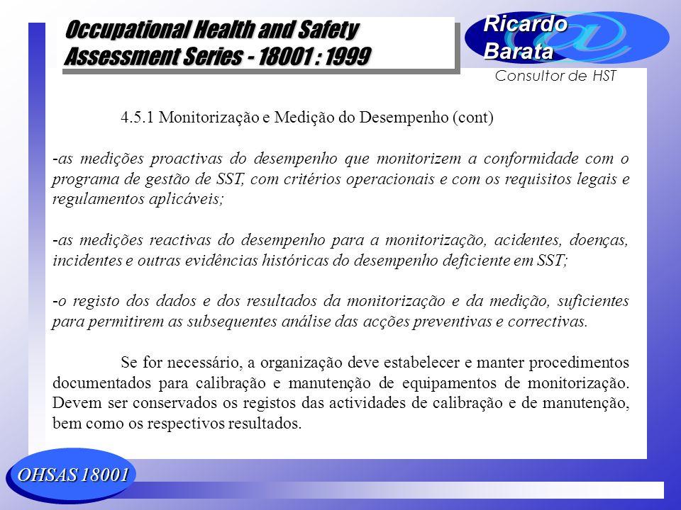 4.5.1 Monitorização e Medição do Desempenho (cont)