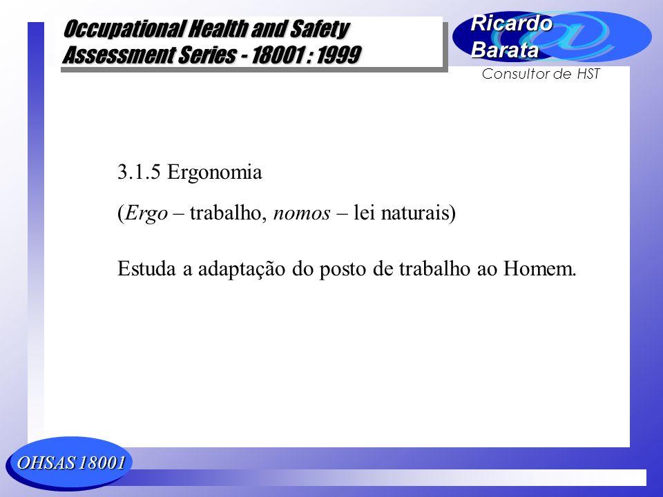 3.1.5 Ergonomia (Ergo – trabalho, nomos – lei naturais) Estuda a adaptação do posto de trabalho ao Homem.
