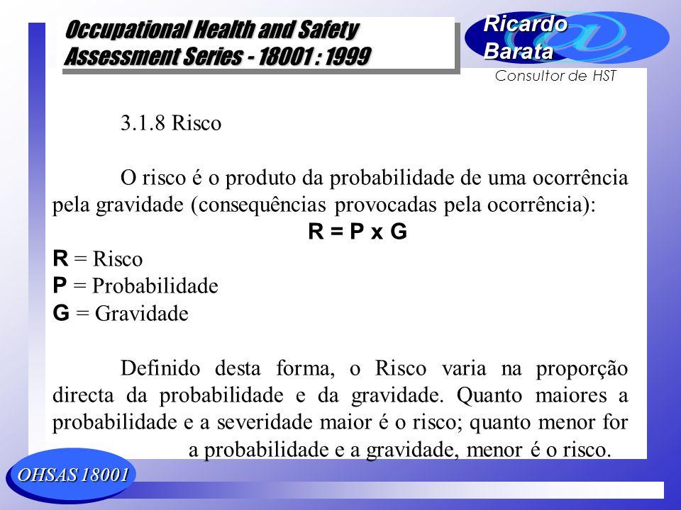 3.1.8 Risco O risco é o produto da probabilidade de uma ocorrência pela gravidade (consequências provocadas pela ocorrência):