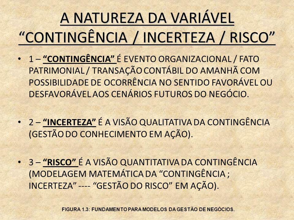 A NATUREZA DA VARIÁVEL CONTINGÊNCIA / INCERTEZA / RISCO