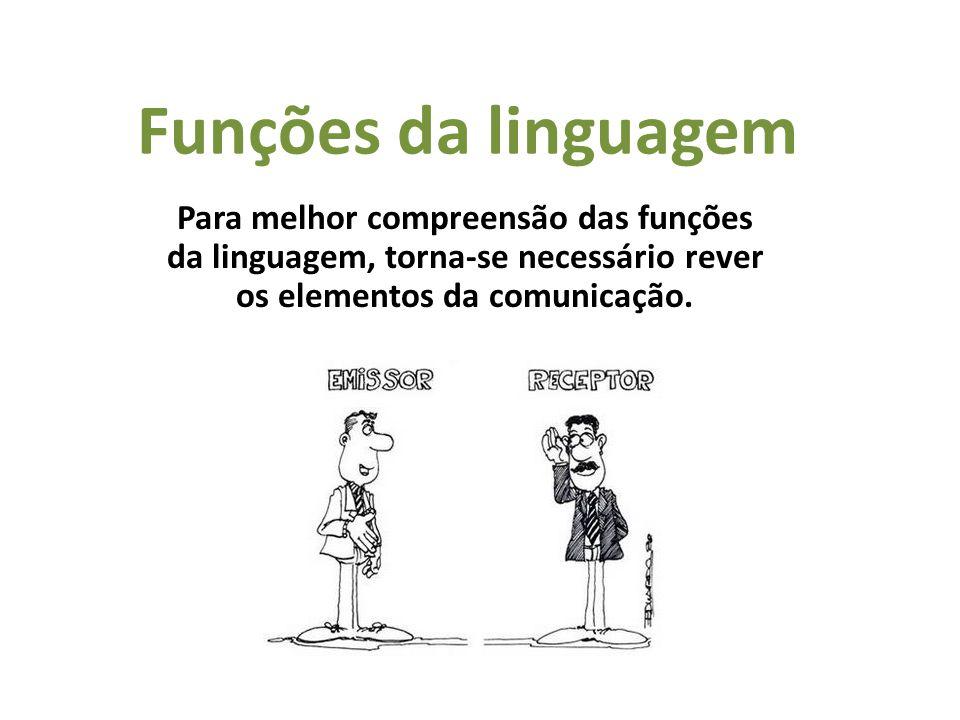 Funções da linguagem Para melhor compreensão das funções da linguagem, torna-se necessário rever os elementos da comunicação.