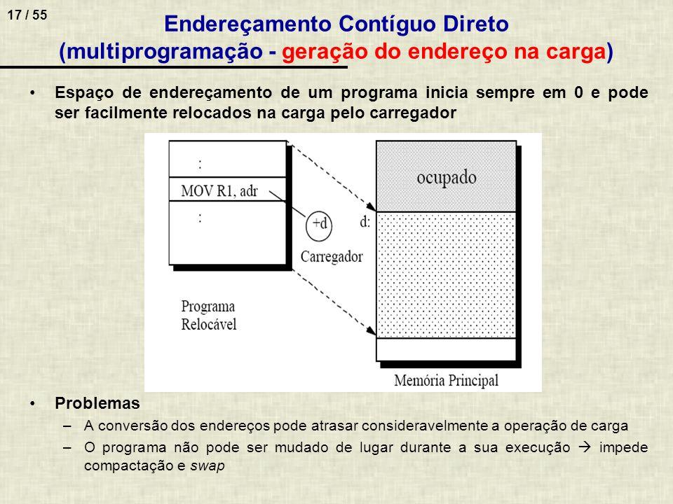 Endereçamento Contíguo Direto (multiprogramação - geração do endereço na carga)