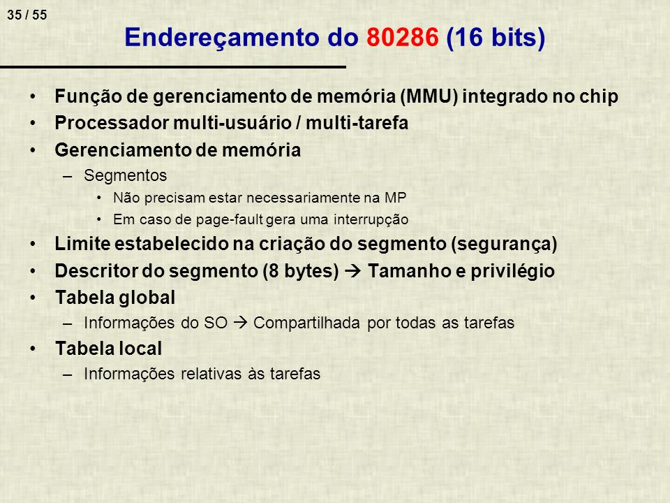 Endereçamento do 80286 (16 bits)
