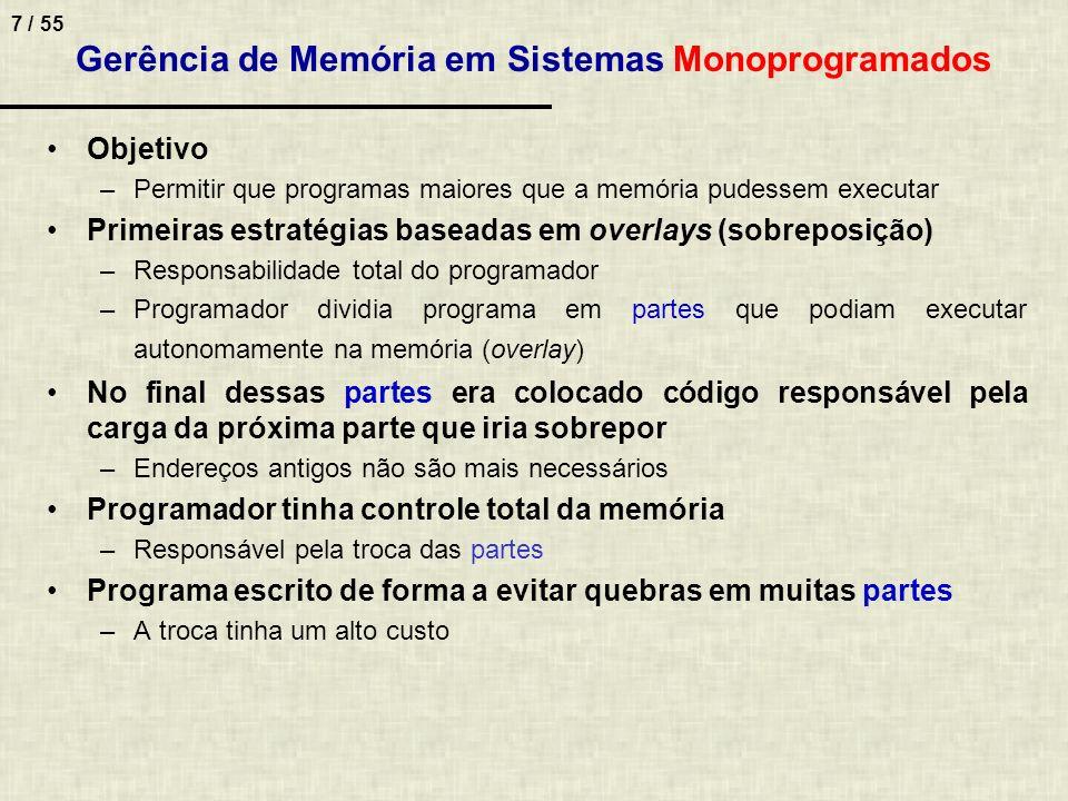 Gerência de Memória em Sistemas Monoprogramados