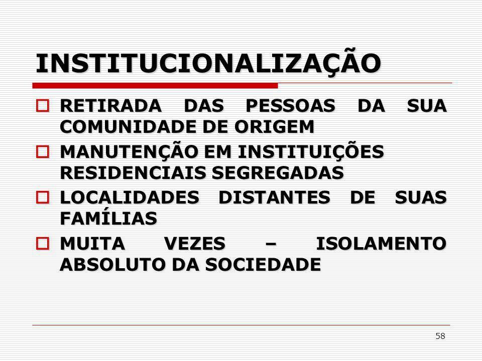 INSTITUCIONALIZAÇÃO RETIRADA DAS PESSOAS DA SUA COMUNIDADE DE ORIGEM
