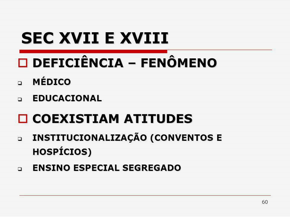 SEC XVII E XVIII DEFICIÊNCIA – FENÔMENO COEXISTIAM ATITUDES MÉDICO