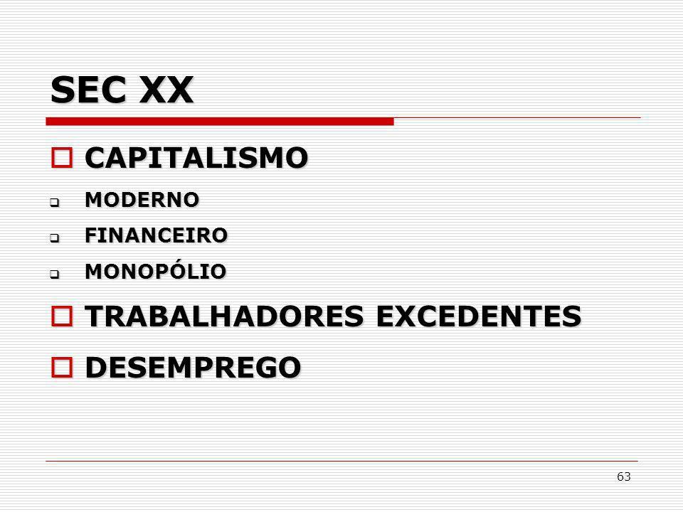 SEC XX CAPITALISMO TRABALHADORES EXCEDENTES DESEMPREGO MODERNO