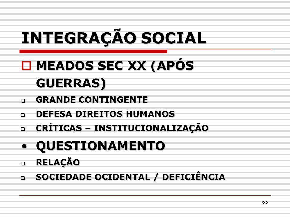 INTEGRAÇÃO SOCIAL MEADOS SEC XX (APÓS GUERRAS) QUESTIONAMENTO