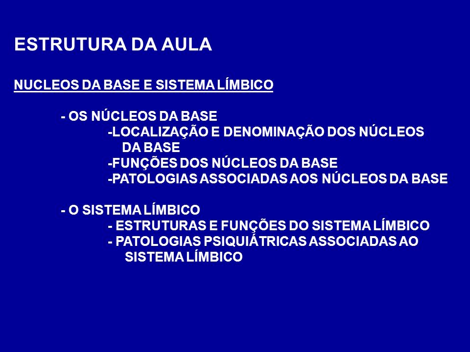 ESTRUTURA DA AULA NUCLEOS DA BASE E SISTEMA LÍMBICO