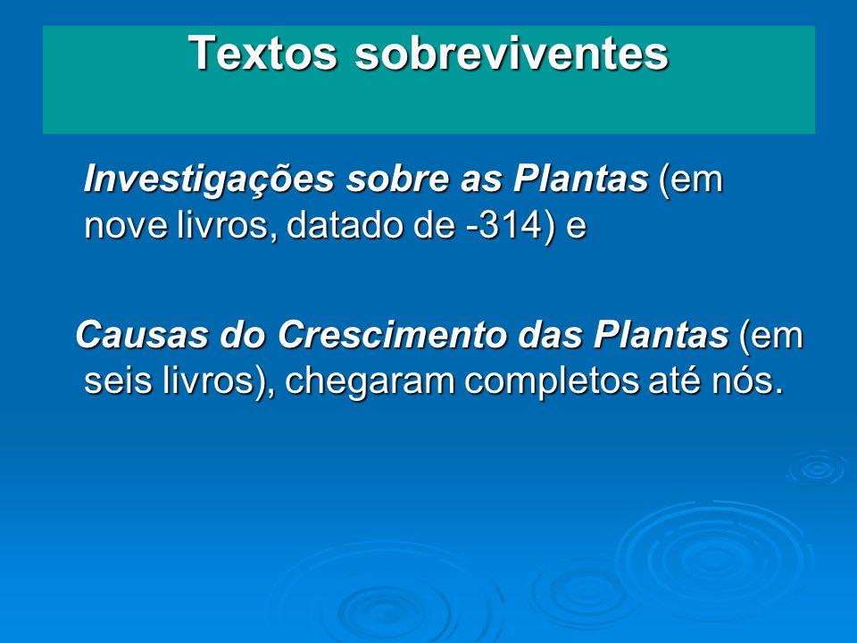 Textos sobreviventes Investigações sobre as Plantas (em nove livros, datado de -314) e.