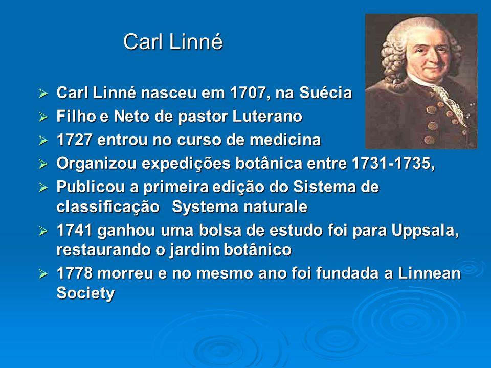 Carl Linné Carl Linné nasceu em 1707, na Suécia