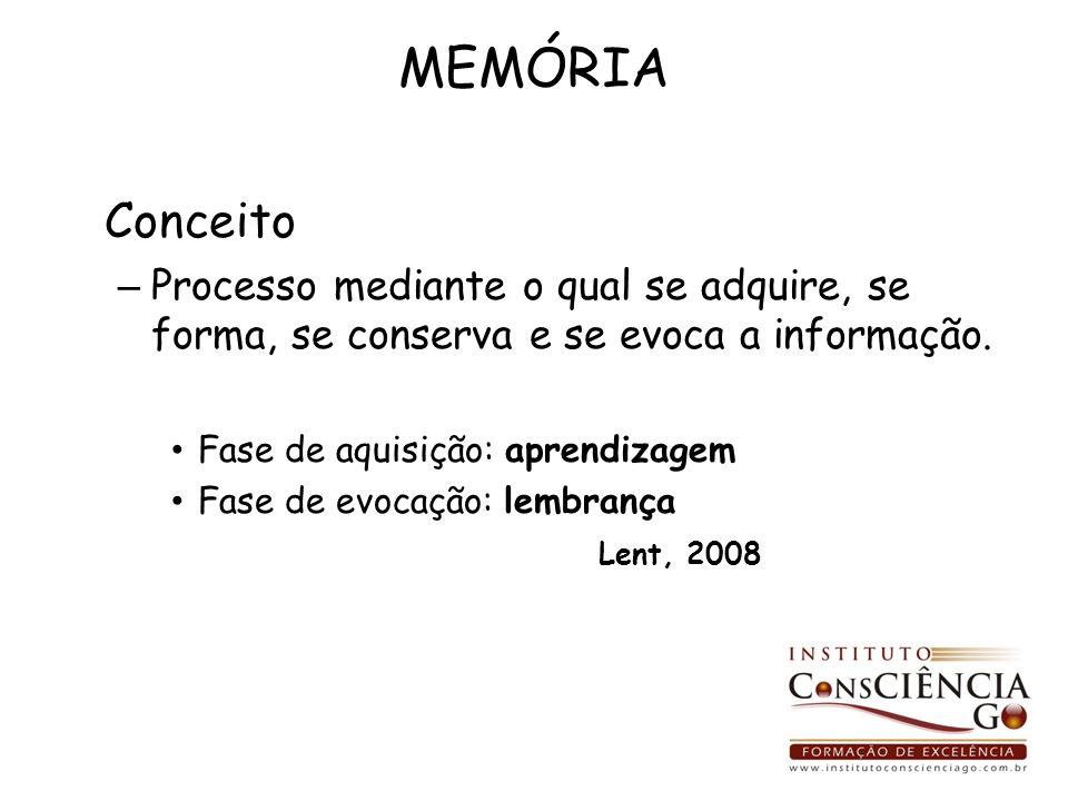 MEMÓRIA Conceito. Processo mediante o qual se adquire, se forma, se conserva e se evoca a informação.