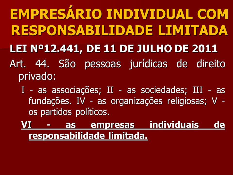 EMPRESÁRIO INDIVIDUAL COM RESPONSABILIDADE LIMITADA