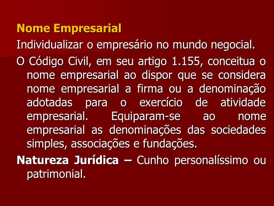 Nome Empresarial Individualizar o empresário no mundo negocial.