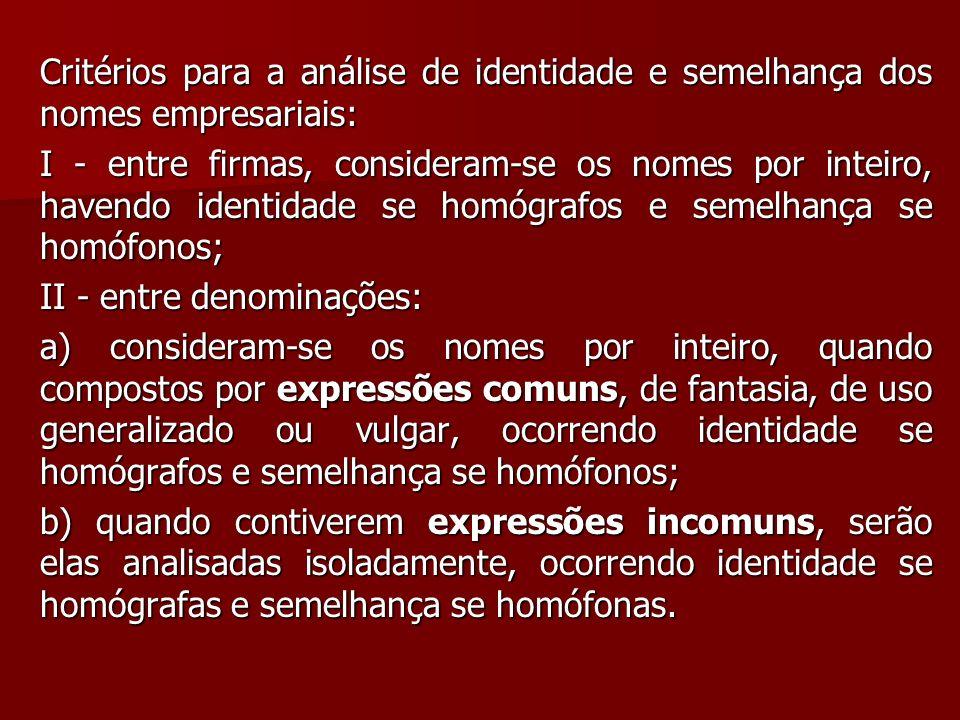 Critérios para a análise de identidade e semelhança dos nomes empresariais: