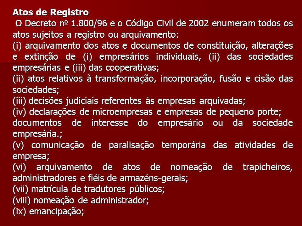 Atos de Registro O Decreto no 1.800/96 e o Código Civil de 2002 enumeram todos os atos sujeitos a registro ou arquivamento: