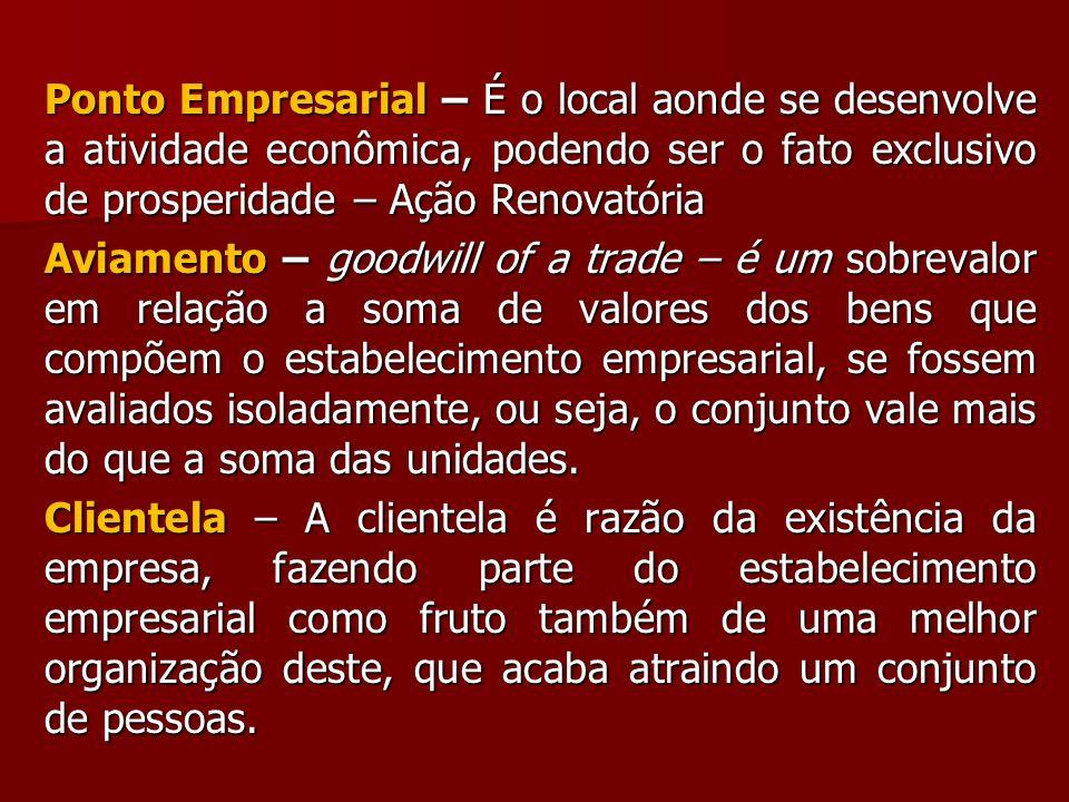 Ponto Empresarial – É o local aonde se desenvolve a atividade econômica, podendo ser o fato exclusivo de prosperidade – Ação Renovatória