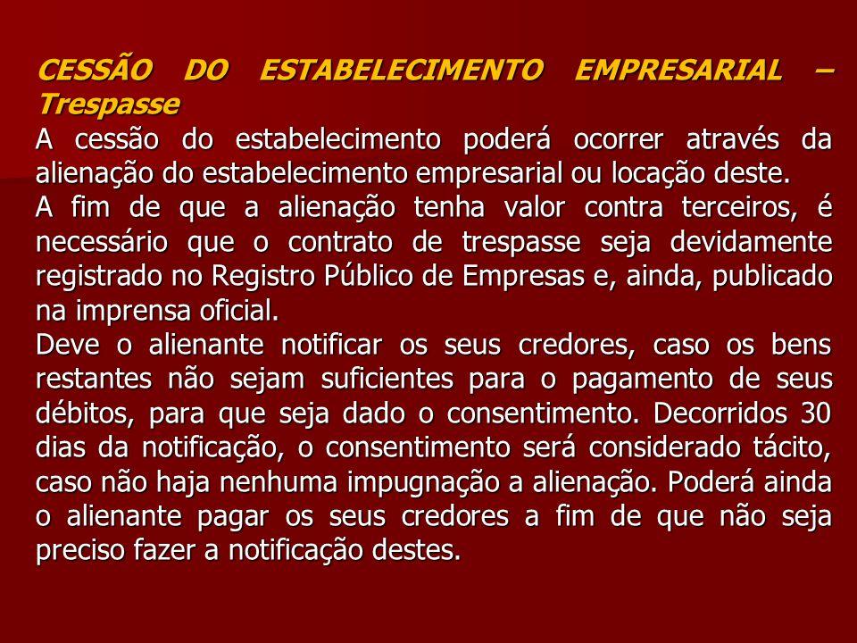 CESSÃO DO ESTABELECIMENTO EMPRESARIAL – Trespasse
