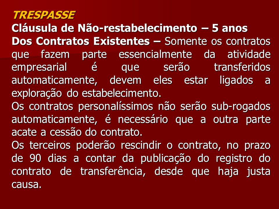 TRESPASSE Cláusula de Não-restabelecimento – 5 anos.