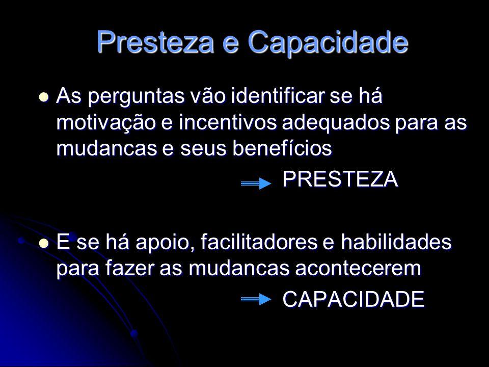Presteza e Capacidade As perguntas vão identificar se há motivação e incentivos adequados para as mudancas e seus benefícios.