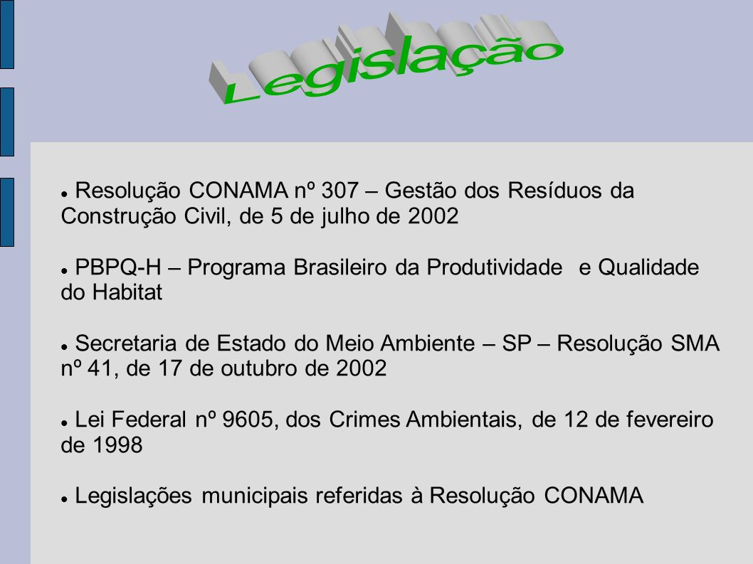 Legislação Resolução CONAMA nº 307 – Gestão dos Resíduos da Construção Civil, de 5 de julho de 2002.