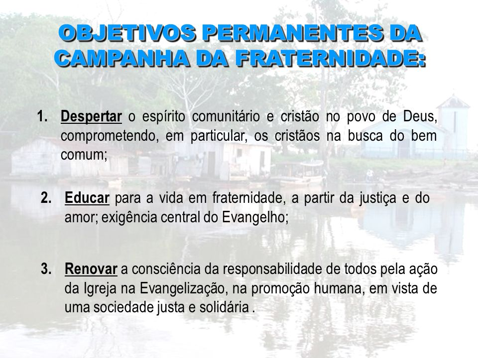 OBJETIVOS PERMANENTES DA CAMPANHA DA FRATERNIDADE: