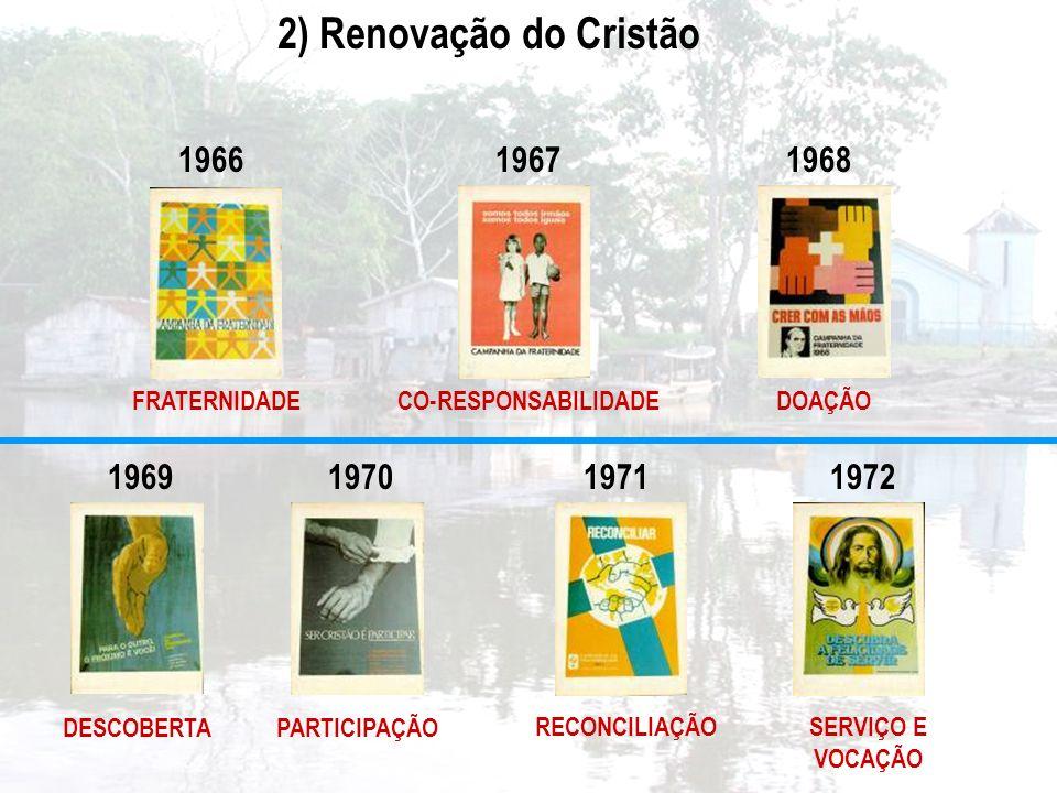2) Renovação do Cristão 1966. 1967. 1968. FRATERNIDADE. CO-RESPONSABILIDADE. DOAÇÃO. 1969. 1970.