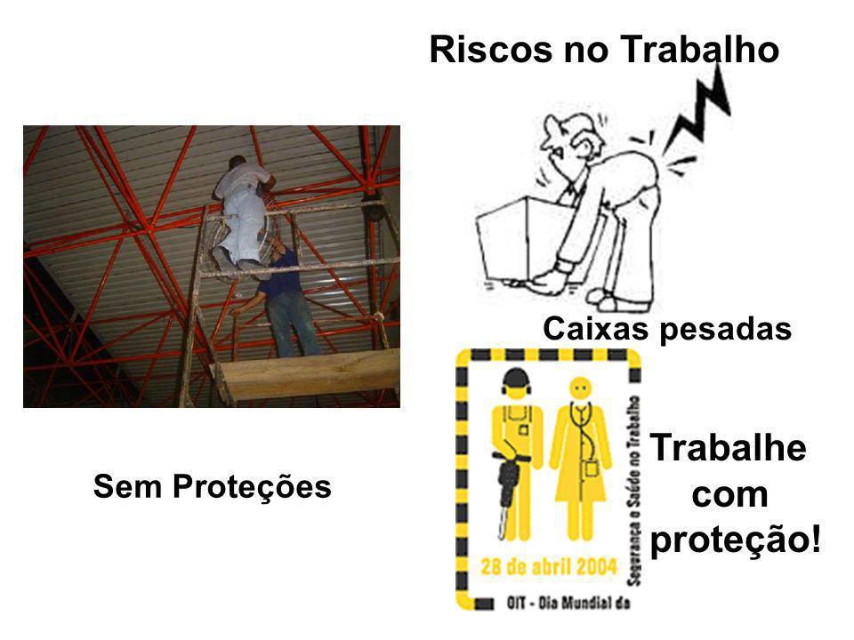 Riscos no Trabalho Caixas pesadas Trabalhe com proteção! Sem Proteções