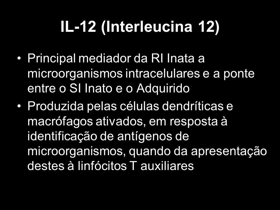 IL-12 (Interleucina 12) Principal mediador da RI Inata a microorganismos intracelulares e a ponte entre o SI Inato e o Adquirido.