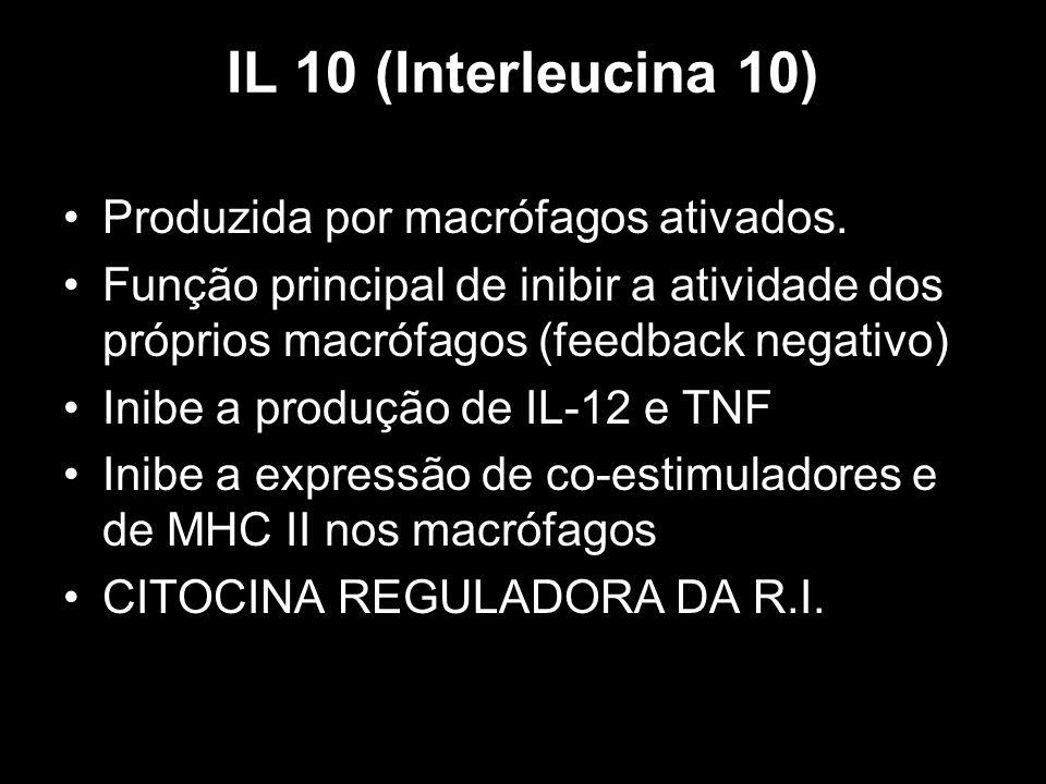 IL 10 (Interleucina 10) Produzida por macrófagos ativados.