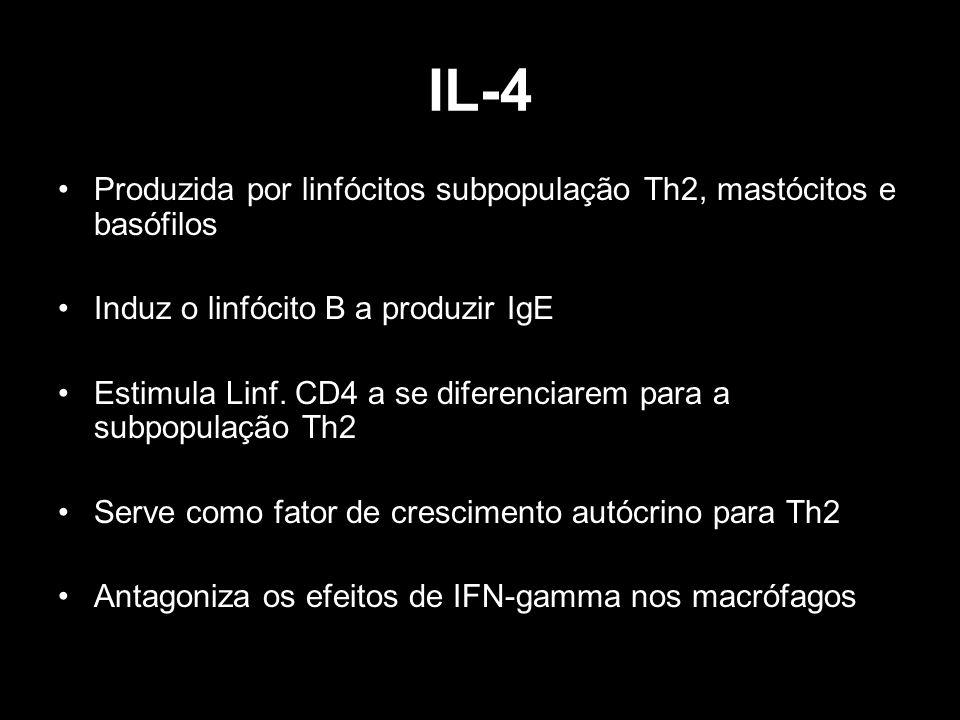 IL-4 Produzida por linfócitos subpopulação Th2, mastócitos e basófilos